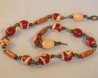 Ethnic polymer clay and wood necklace - Long designer necklace - Burnt sienna and beige - Handmade beads - Terracotta swirl beads