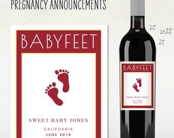 Custom Wine Label - BABYFEET Pregnancy Announcement! (Personalized)