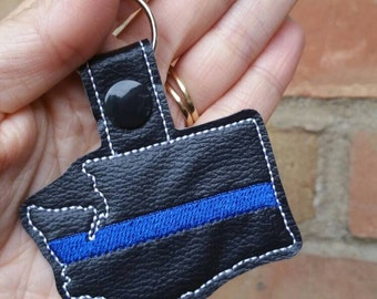 Police Keychain - Thin Blue Line - Washington Keychain- Thin Blue Line Keychain - Thin Blue Line Washington - Police Wife -