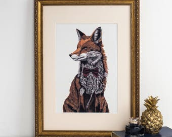 Mr Fox Art Print - fox art print - fox painting - fox gift - fox art - fox print uk - christmas gifts - vintage time traveller
