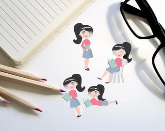 Student Planner stickers, Girl Reading stickers