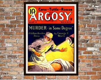 Pulp Fiction Print Poster, Argosy Vintage Magazine Print, Vintage Print, Dime Magazine, Argosy Magazine Pulp Fiction Art Item 0199