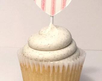 pink ticking glitter heart paper cupcake topper