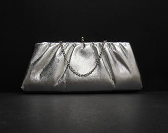 Vintage Silver Kiss Lock Evening Bag Clutch (E9726)