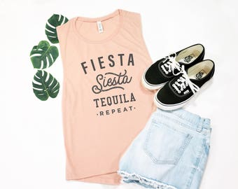 Fiesta Siesta Tequila Repeat, Bachelorette Tank, Bachelorette Shirt, Bachelorette Party Shirts, Muscle Tank, Gift for Her, Funny Shirt