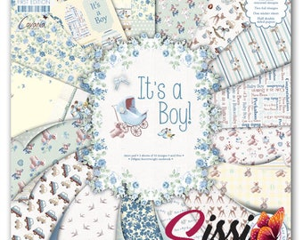 SET 16 sheet paper cardstock birth it's a boy baptism sissi scrapbooking cardmaking 15x15cm 20x20cm and 30x30cm