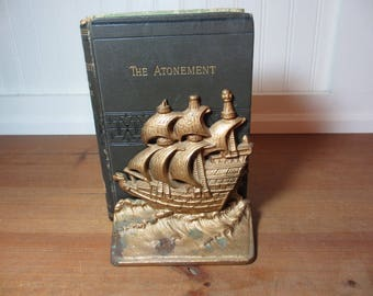 Vintage Cast Iron Sailing Ship Bookend, Door Stop, Nautical, Home Decor, Ship, Boat
