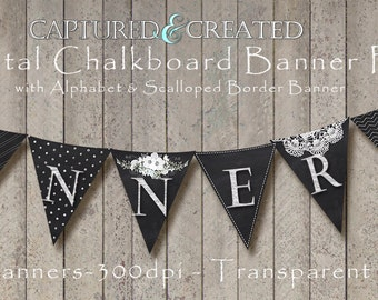 8-Digital Chalkboard Banner/Pendants Pack with Alphabet & Scalloped Border Banner