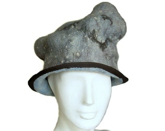 Surreal Felted Hat - Quirky Grey Bowler - Winter Sky with Birds and Raindrops - Unique Poetry Clouds Womans Hat