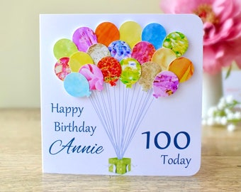 100th birthday card etsy 100th birthday card personalised age 100 birthday balloons card handmade custom personalised mum bookmarktalkfo Images
