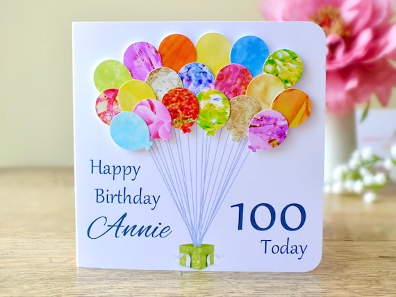100th birthday card personalised age 100 birthday balloons like this item bookmarktalkfo