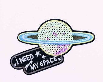 Galaxy Girl Iron On Patch - Back Patch - Space Babe Patch - Pastel Goth Clothing - Nasa Patch - Outerspace Patch - Alien Patch -Saturn Patch