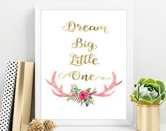 Dream Big Little One, Baby Girl Room Decor, Nursery Decor Girl, New Baby Quote, Gold Nursery Print, Nursery Wall Art, Baby Girl print