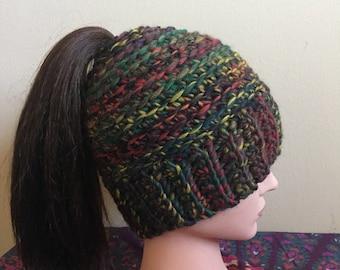 Ponytail bun hat- Deep Woods