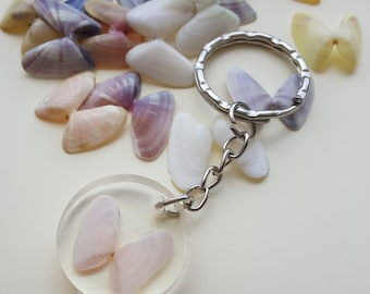 Resin Key Chain with Florida Gulf Coquina Shells, clear resin Epoxy, Key Chain, Butterfly Keychain, Mother's Day gift, cute gift, seashell