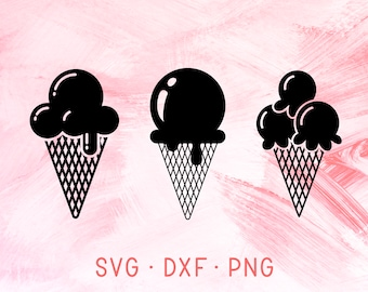 Ice Cream SVG Bundle, Summer DXF PNG, Ice Cream Scoop Clipart, Ice Cream Cone Svg File For Cricut, Beach Holiday Vacation, Summertime Gelato