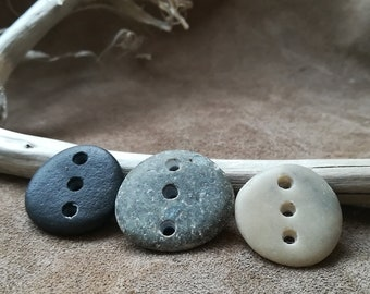 Drilled Sea Stone links 3pcs, connectors Stone jewelry components