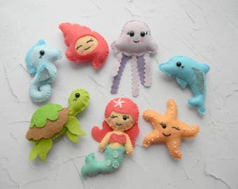 Kawaii Baby Sea Creatures ornament Under the sea decoration Ocean theme birthday party cake toppers Ocean animals Mermaid ornaments