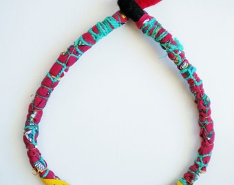 fabric bib necklace, statement OOAK jewelry, summer textile necklace, bold necklace, summer accessories by Jiakuma