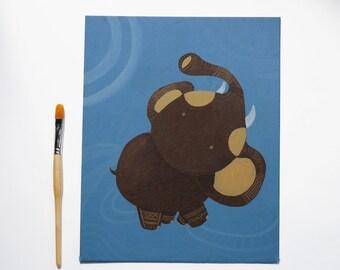 My Maori Elephant. Illustrazione originale dipinta a mano ad acrilico su cartone telato, OOAK  24 x 30 cm. Child art pronta da appendere