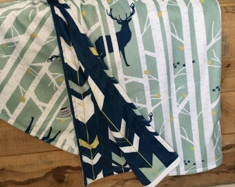 Reversible Double Minky Blankets - Deer Minky Blanket/Arrow Minky Blanket/Deer Baby Blanket/Woodland Baby Blanket /Deer Crib Bedding