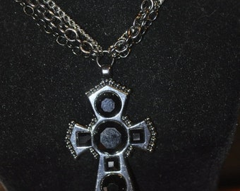 Spring Clear Out Sale MultiChain Necklace with Cross Pendant