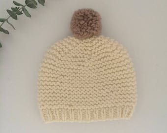 Neige knitted beanie with champignon pompon