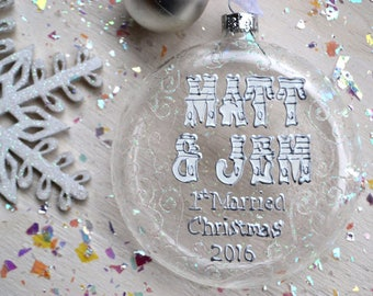 first married Christmas bauble, personalised Christmas bauble, first Christmas married bauble, glass bauble, wedding gift, mr and mrs bauble