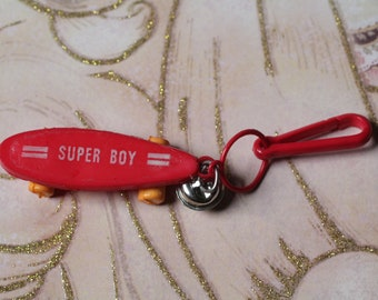 Vintage Bell charm Red Skateboard super boy  - Charm Bracelet - Necklace - Retro Keychain clip - Zipper Pull - Kitsch Kawaii Mini 80s