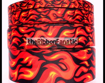 """5 yds or 3 yds Flames Fire Cheer Cheerleading Sports Bow 4 Sizes 5/8"""" 7/8"""" 1.5"""" 2.25"""" Grosgrain Ribbon"""