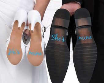 Wedding shoe sticker - He's mine She's mine - Bride Groom wedding decal - Something blue - Couple decals - Wedding labels - Bride shoe