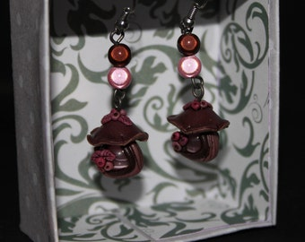 Pink and Brown mushroom Fairy House earrings