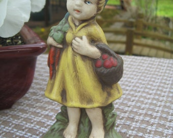 """Ceramic Barefoot Doll Has Harvested Tomatoes and Carrots 6"""" tall Peasant Girl"""