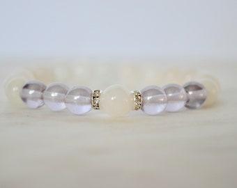PROTECTION. Alexandrite Glass Bracelet. Moonstone Bracelet. June Birthstone. Stretch Bracelet. Gemstone Bracelet. Stacking Bracelet.