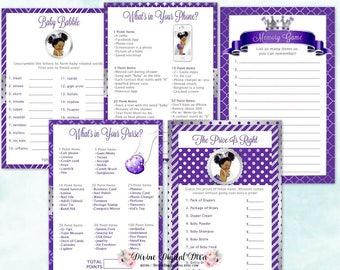 Baby Shower Games Package | African American Princess Purple & Silver | Price Is Right Baby Babble Purse Phone Memory | Instant Download