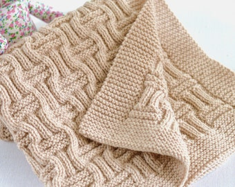 Knitting Pattern Baby Blanket Reversible Basketweave Blanket Improving Beginner Knitting Pattern Stroller Blanket Instant Download