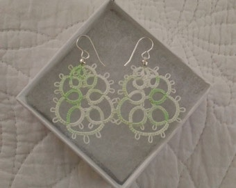 Chic Tatted Earrings, Mint Green & White