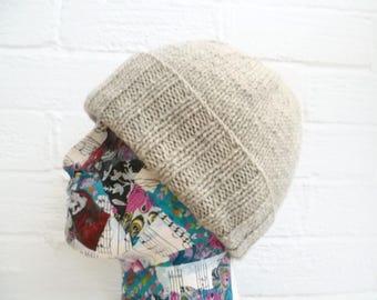 Men's Grey Wool Beanie, Hand Knit Hat Men, Men Knitted Watch Cap, Grey Wool Alpaca Watchman Cap, Men Knit Wool Beanie, ClickClackKnits