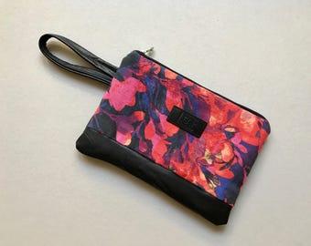 Large Floral Purse, Handbag with Flowers, Floral Clutch, Leather Clutch, Floral Clutch Purse, Floral Zipper Pouch, Floral Handbag, Pastel