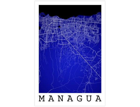 Managua street map managua nicaragua modern art print publicscrutiny Image collections