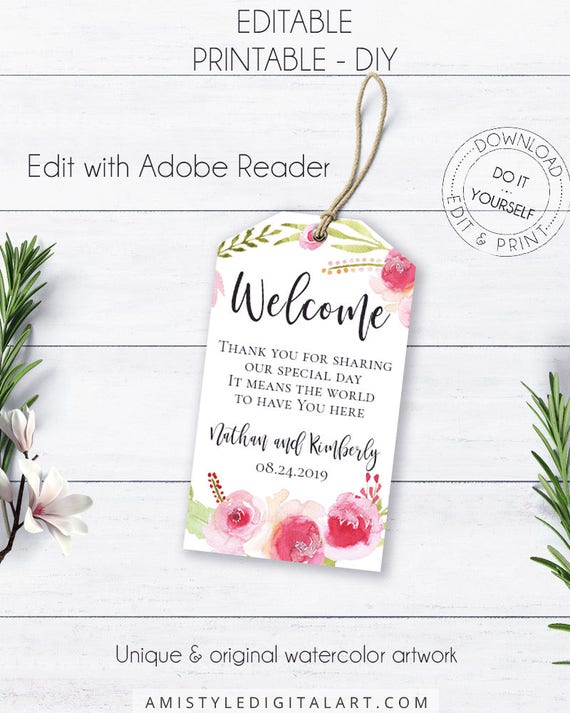 Rose wreath welcome wedding tags floral wedding editable rose wreath welcome wedding tags floral wedding editable welcome tag wedding labels on a budget wedding glamorous printable wedding solutioingenieria Gallery