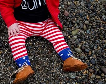 Patriotic Baby Leggings - Patriotic Toddler Pants - Baby Boy Leggings - Baby Pants - Toddler Leggings - Harem Pants