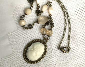 Ivory cameo lady ivory victorian necklace