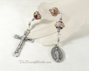 Three Hail Mary Marys Devotion Chaplet Miraculous Medal Handmade Wedding Cake Bead Red Gold Flower Unbreakable Catholic Prayer Gift under 25