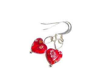 Valentine's Day, Gift for Her, Sterling Silver and Red Millefiori Glass Heart Dangle Earrings, Valentine Gift, Valentine Earrings