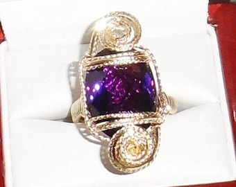 Natural Untreated 15ct AAA Oval Faceted Purple Amethyst gemstone, 14kt yellow gold Ring Sz 8 1/2