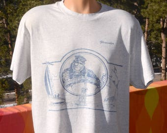 vintage 80s t-shirt GLOUCESTER massachusetts fisherman fish sea wicked tuna tee Large