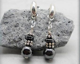 Hematite and Sterling Silver Earrings, Post Earrings, Gemstone Earrings,  Stone Earrings, Dark Gray Black, Stud Earrings, Gift Idea