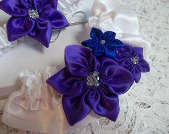 Royal Purple and Royal Blue Wedding Garter Set, Star Flowers on a white Garter Band, Purple Blue Regency Bridal Garter, Wedding Garter Toss