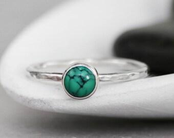 Turquoise Gemstone Ring, Turquoise Promise Ring, 925 Silver Ring, Simple Ring, Gemstone Stacking Ring, Bezel Set, Hammered Ring, 6 mm